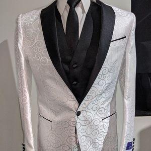 White Swirl 3pc Suit